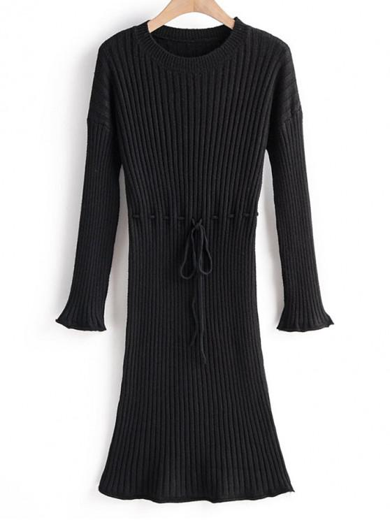 outfit Tie Waist Drop Shoulder Ribbed Sweater Dress - BLACK ONE SIZE