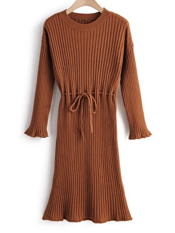 shop Tie Waist Drop Shoulder Ribbed Sweater Dress - COFFEE ONE SIZE