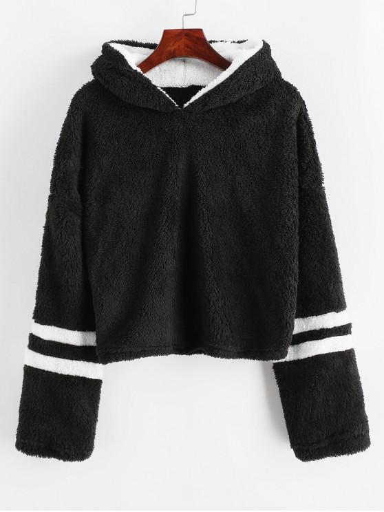 shops Striped Drop Shoulder Fluffy Hoodie - BLACK XL