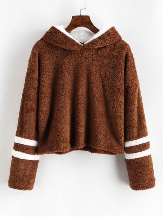 trendy Striped Drop Shoulder Fluffy Hoodie - BROWN M