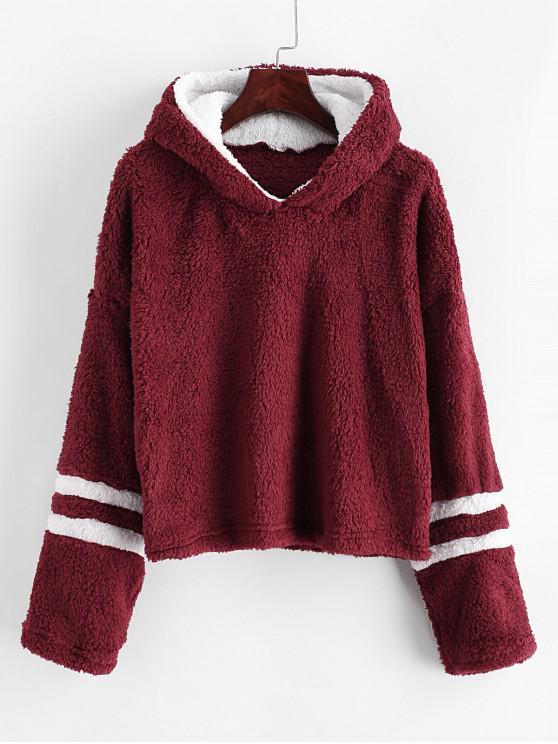 fancy Striped Drop Shoulder Fluffy Hoodie - RED WINE S