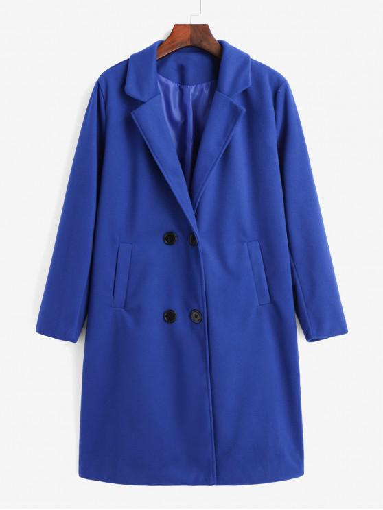 trendy Double Breasted Pocket Trench Coat - BLUE XL