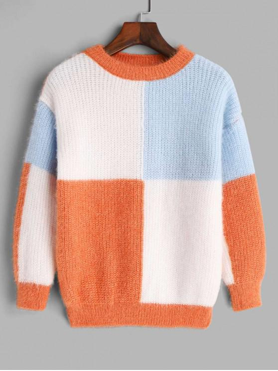 shop Crew Neck Colorblock Fuzzy Sweater - MULTI-A ONE SIZE