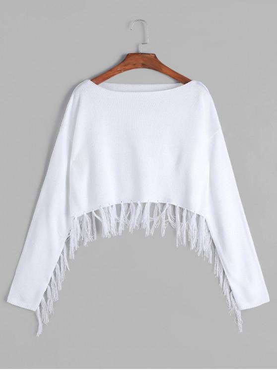 lady Tassels Boat Neck Crop Sweater - WHITE L