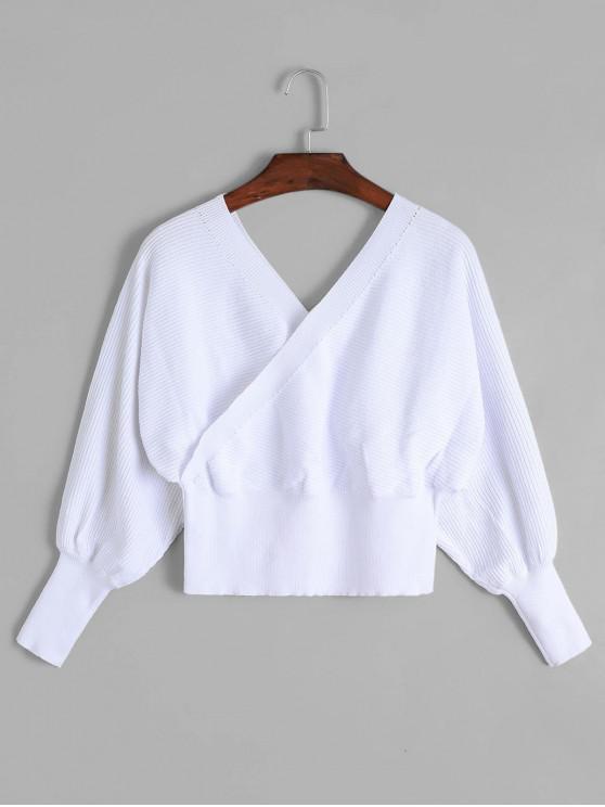 lady Balloon Sleeves Overlap Crop Knitwear - WHITE L