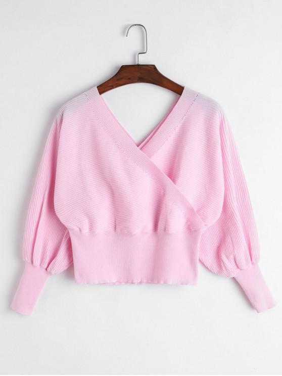 shop Balloon Sleeves Overlap Crop Knitwear - PINK L