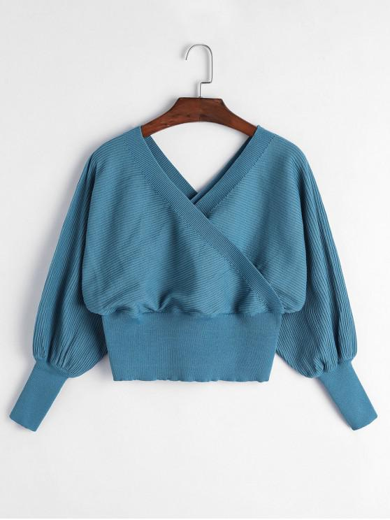 fashion Balloon Sleeves Overlap Crop Knitwear - PEACOCK BLUE M