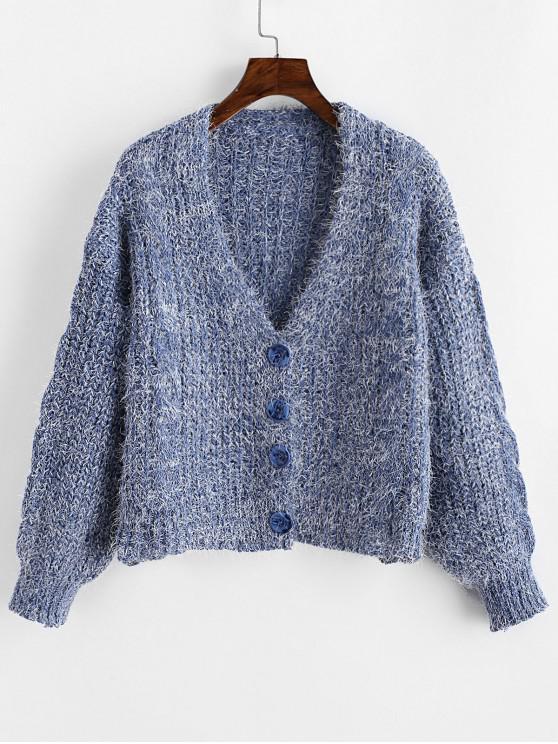 chic Drop Shoulder Fuzzy Button Up V Neck Cardigan - SLATE BLUE ONE SIZE