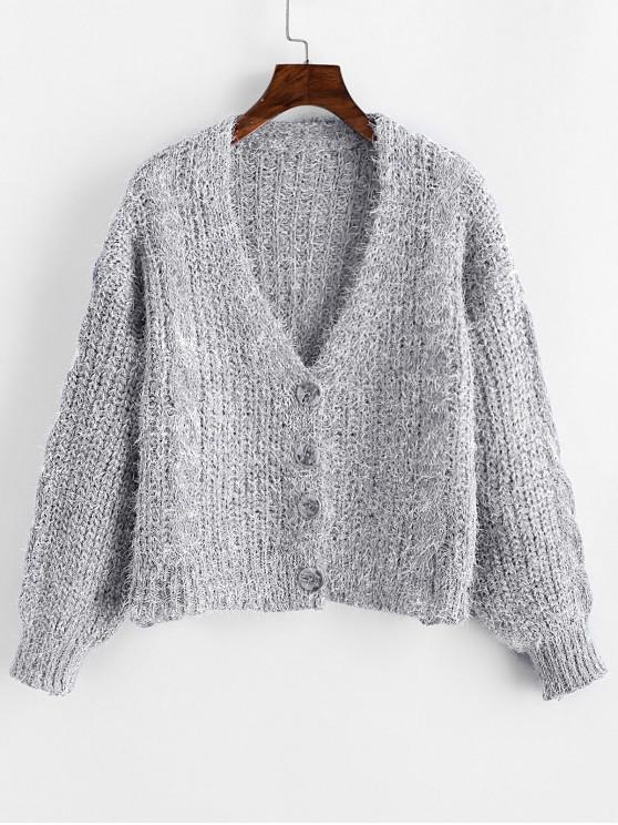 fancy Drop Shoulder Fuzzy Button Up V Neck Cardigan - LIGHT GRAY ONE SIZE