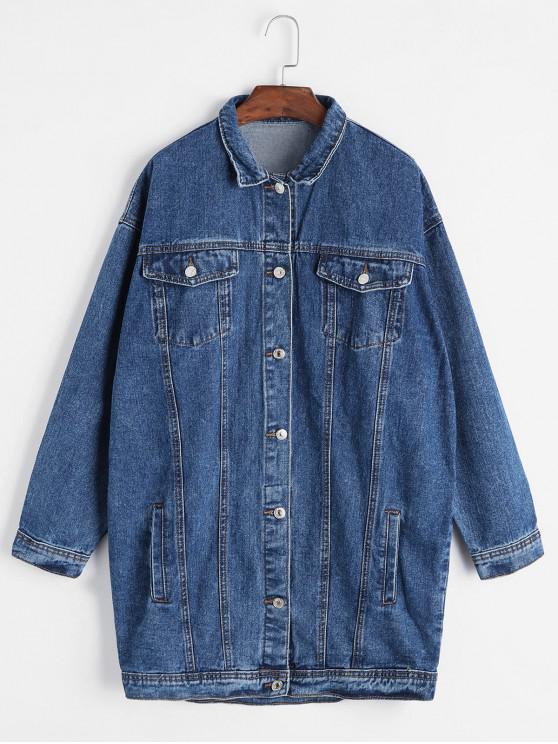 fancy Drop Shoulder Pocket Tunic Boyfriend Denim Jacket - BLUE L