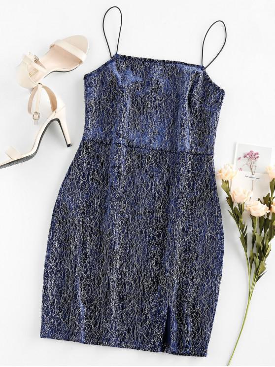 affordable ZAFUL Metallic Thread Bungee Sheath Cami Dress - CADETBLUE S