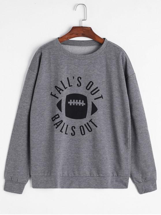 online Letter Drop Shoulder Loose Sweatshirt - GRAY XL