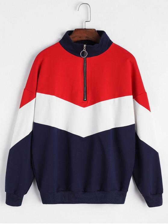 new Half Zip Drop Shoulder Colorblock Sweatshirt - MULTI-A M