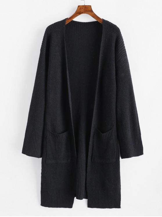 online Longline Open Front Slit Dual Pocket Cardigan - BLACK ONE SIZE