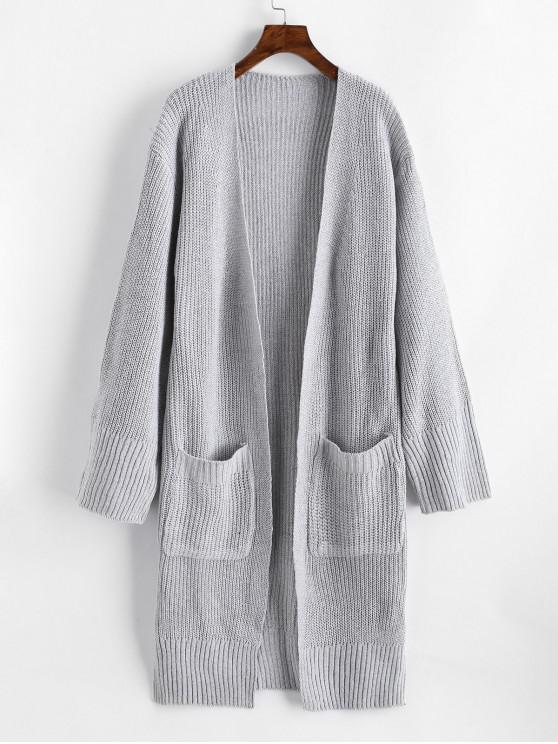 new Longline Open Front Slit Dual Pocket Cardigan - GRAY ONE SIZE