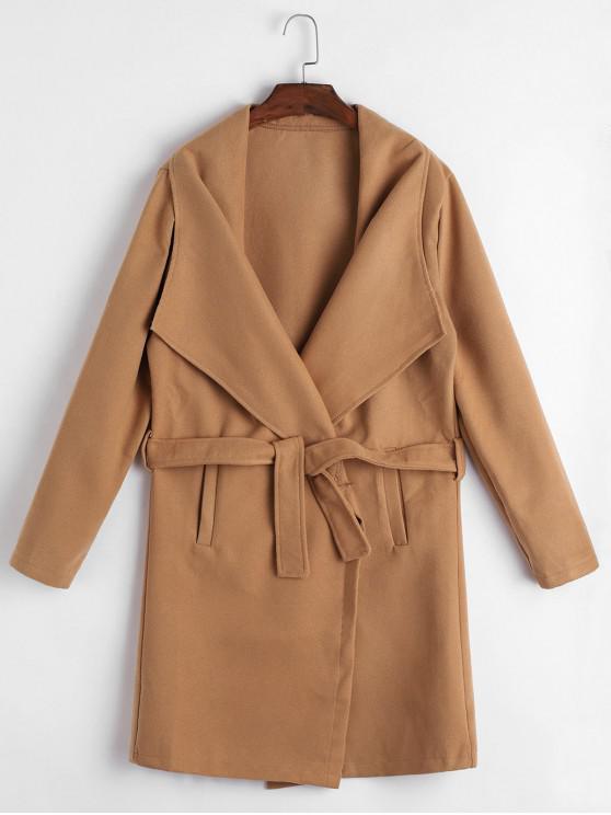 hot Longline Belted Welt Pockets Wool Blend Coat - CAMEL BROWN XL