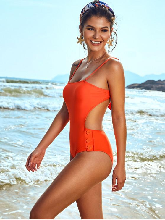 shop ZAFUL Buttoned Tied Backless Cutout One-piece Swimsuit - ORANGE S