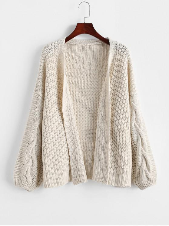 ladies Loose Drop Shoulder Cable Knit Open Front Cardigan - WHITE ONE SIZE