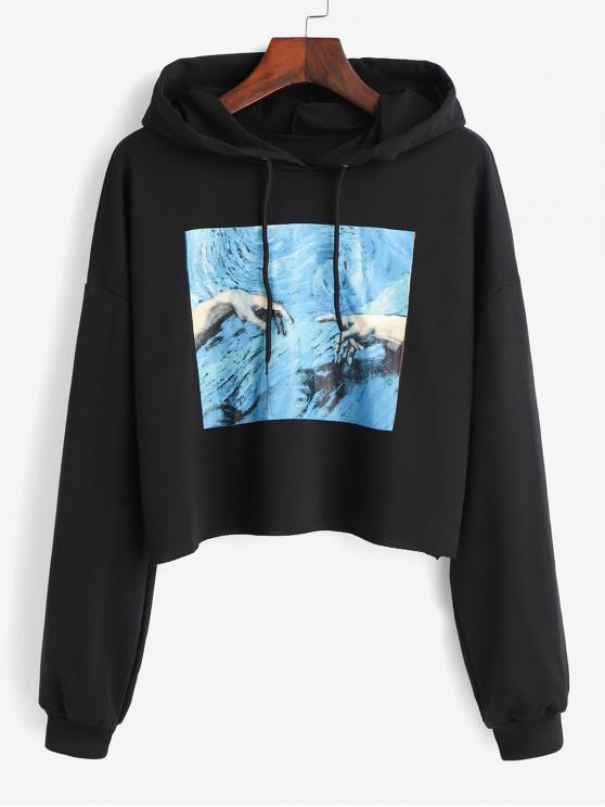 affordable Hands Graphic Crop Hoodie - BLACK S