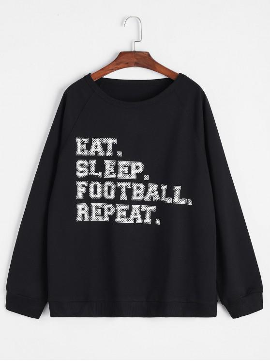 womens Slogan Print Raglan Sleeve Loose Sweatshirt - BLACK S