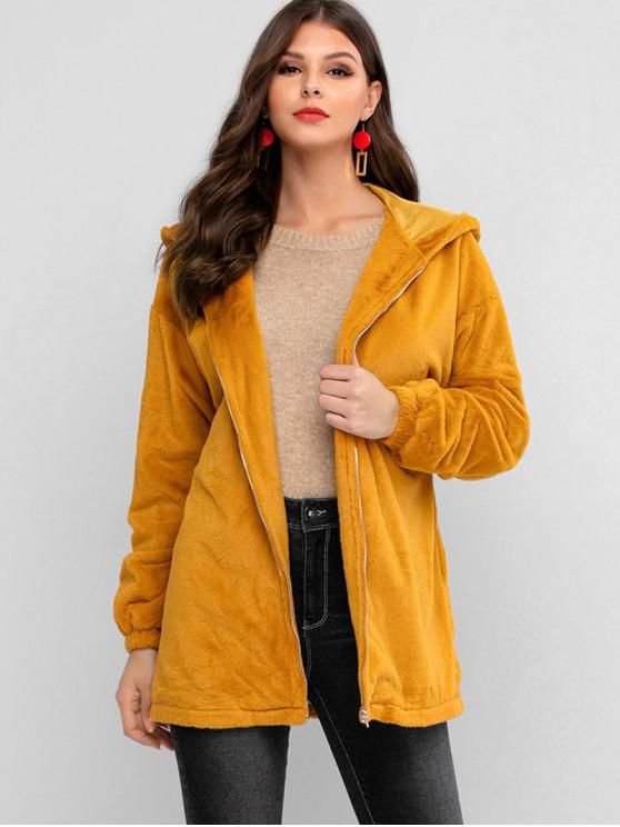 hot ZAFUL Zip Up Faux Fur Hooded Knotted Coat - TIGER ORANGE XL
