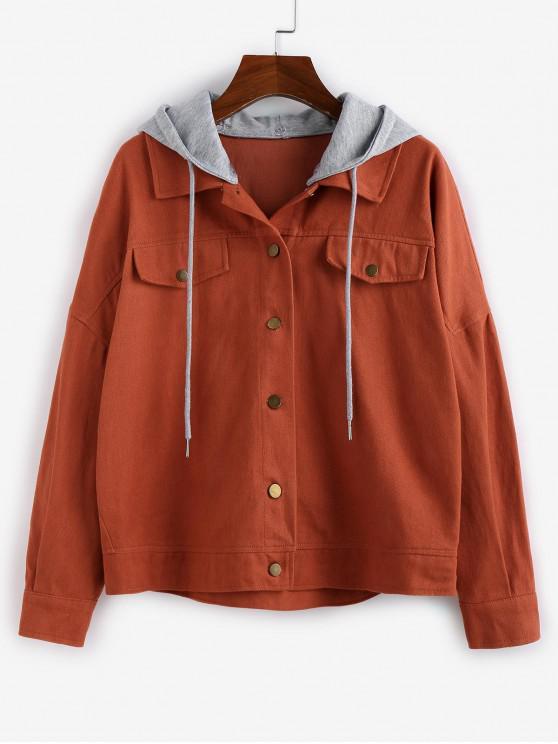 lady ZAFUL Drop Shoulder Detachable Hooded Drawstring Jacket - MULTI-B XL