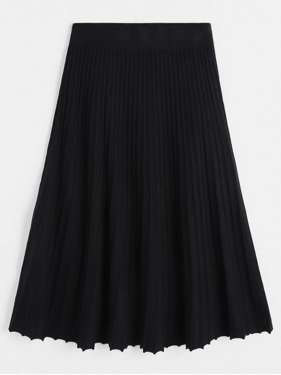 outfit Pleated Midi A Line Knit Skirt - BLACK ONE SIZE