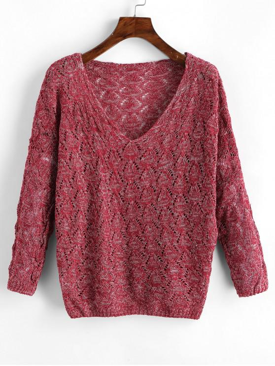 affordable Mixed Yarn Batwing Sleeve Open Knitwear - RED WINE ONE SIZE