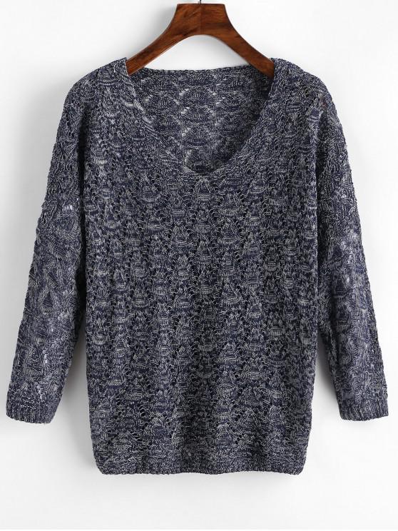 buy Mixed Yarn Batwing Sleeve Open Knitwear - DEEP BLUE ONE SIZE