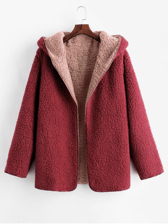 С капюшоном Открытый фронт Шерсть Пальто Тедди - Розовый S