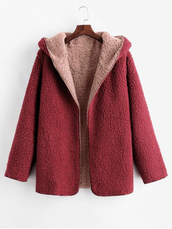 chic Hooded Open Front Lamb Wool Teddy Coat - PINK L