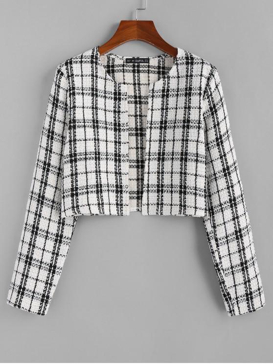 shops ZAFUL Plaid Tweed Jacket - WHITE S