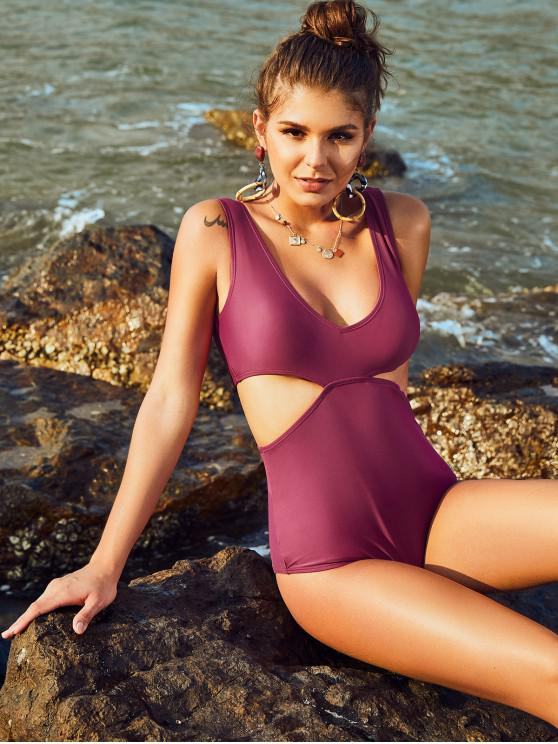 new ZAFUL Plunge High Cut Cutout One-piece Swimsuit - PLUM PIE L