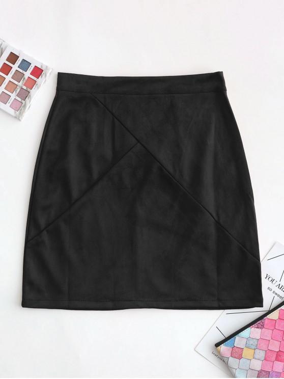 fancy Back Zipper Faux Suede A Line Skirt - BLACK M