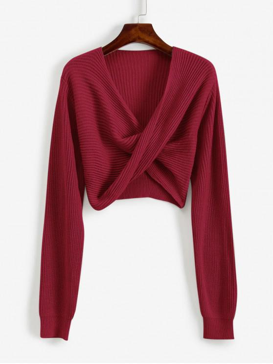hot V Neck Cropped Twist Front Sweater - CHERRY RED M