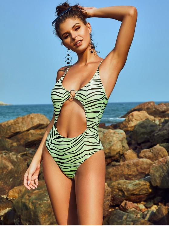 new ZAFUL Zebra Cutout Criss Cross High Cut One-piece Swimsuit - TEA GREEN L