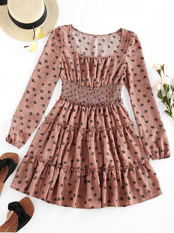 women's ZAFUL Ditsy Floral Frilled Smocked Waist Dress - KHAKI ROSE XL