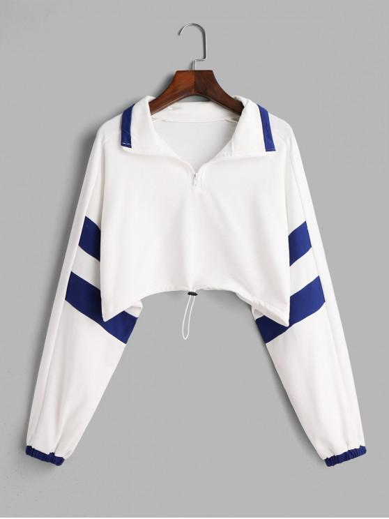 outfit Two Tone Toggle Drawstring Front Zip Sweatshirt - WHITE ONE SIZE