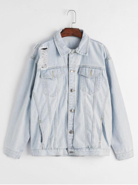 sale Ripped Light Wash Pocket Denim Jacket - BLUE L