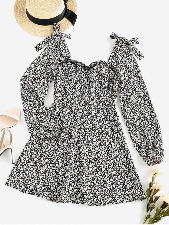affordable ZAFUL Bowknot Ditsy Print Mini Dress - MULTI S