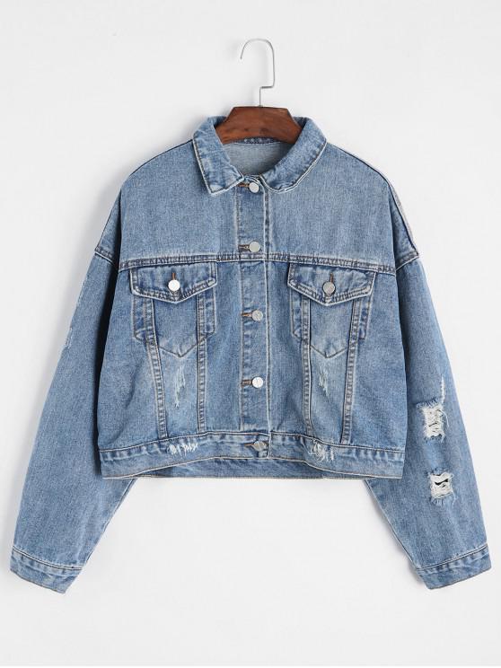 fashion Ripped Drop Shoulder Denim Jacket - BLUE L