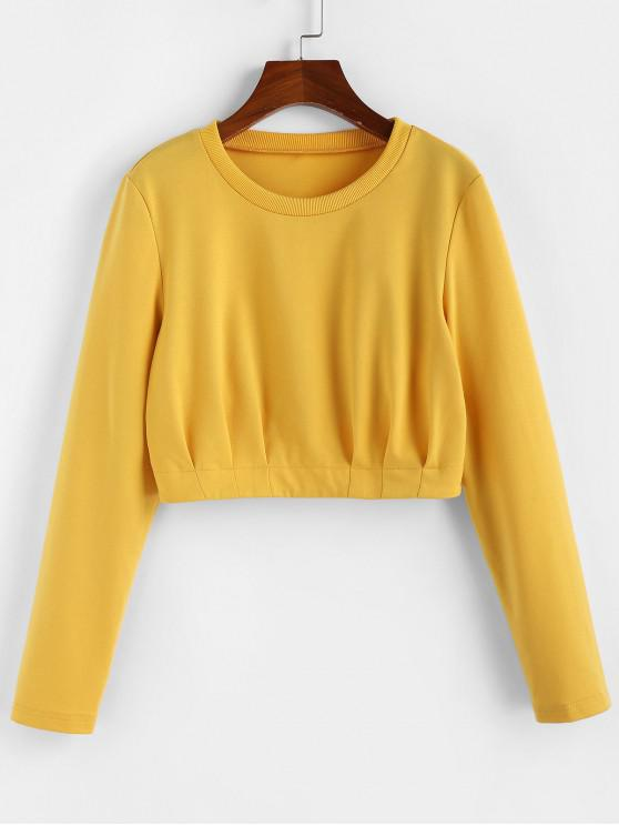 outfits ZAFUL Pintuck Pullover Crop Sweatshirt - BRIGHT YELLOW M