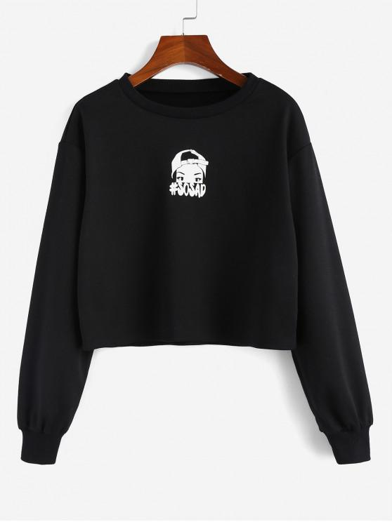 ZAFUL Sweat-shirt Graphique à Goutte Epaule - Noir L