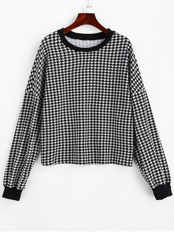 womens Houndstooth Drop Shoulder Pullover Sweatshirt - BLACK XL
