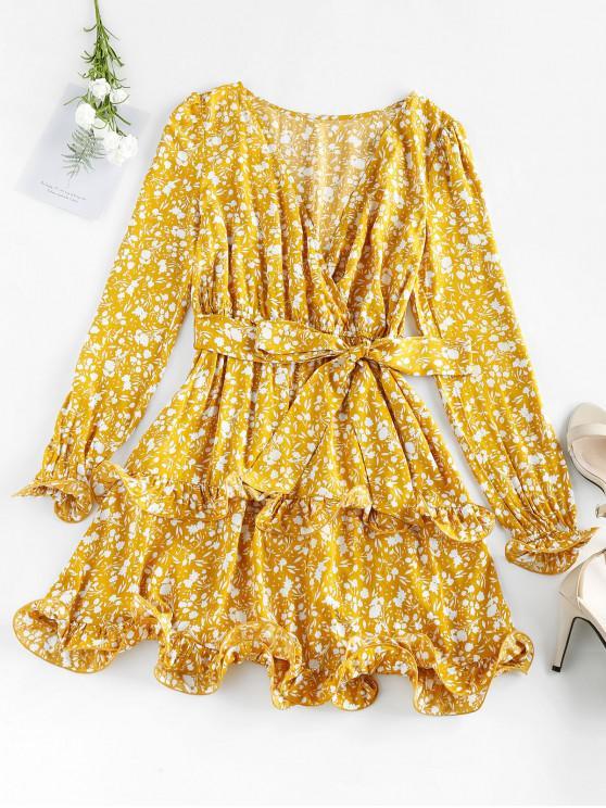 chic ZAFUL Ditsy Print Plunging Ruffle Mini Dress - GOLDENROD XL