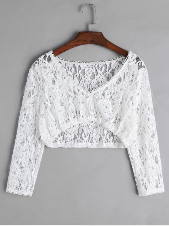 new Floral Lace Plunging Picot Trim Crop T-shirt - WHITE XL