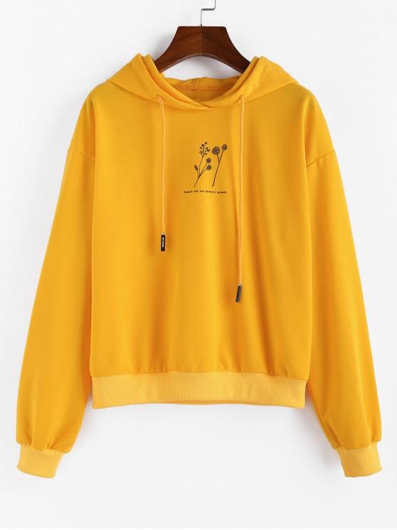 sale ZAFUL Drop Shoulder Graphic Hoodie - BEE YELLOW M