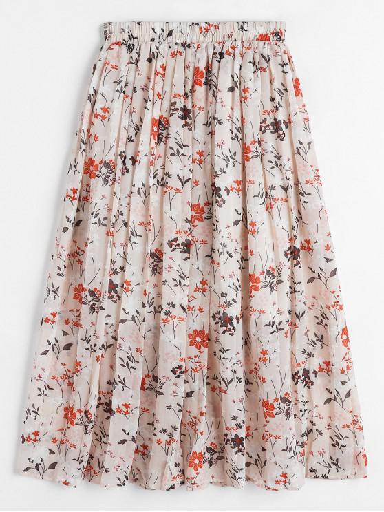 shop Floral Chiffon Pleated A Line Skirt - DEEP PEACH ONE SIZE