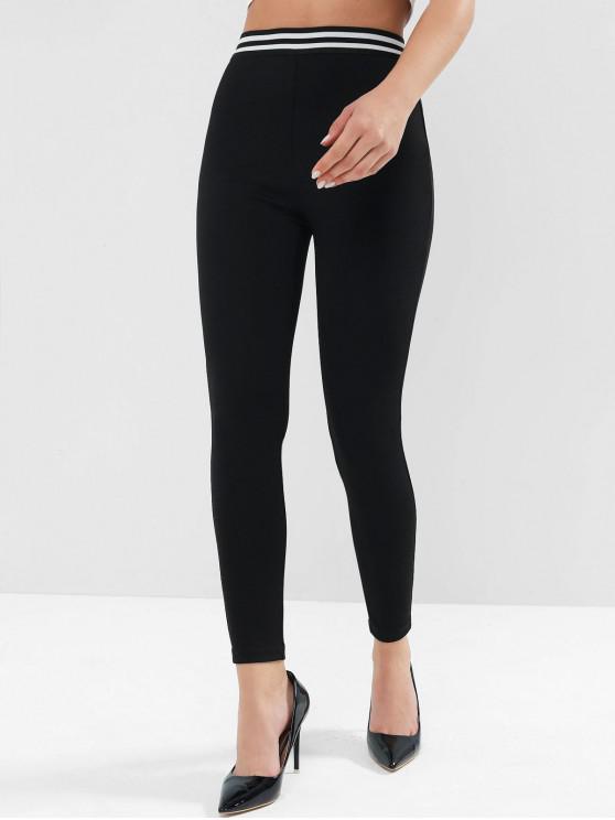 ZAFUL High Rise strisce Skinny Leggings - Nero L