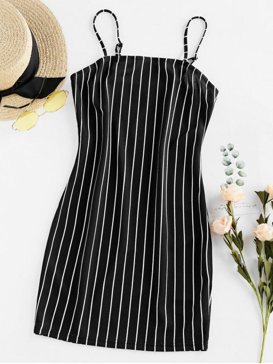 women's ZAFUL Striped Cami Bodycon Dress - BLACK M